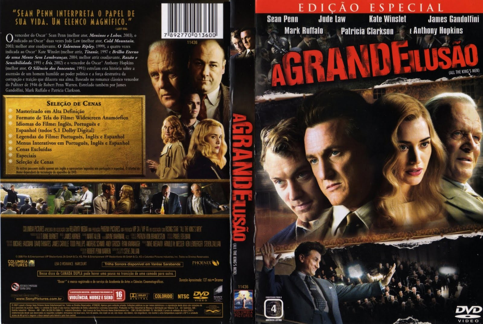 DVD LACRADO A GRANDE ILUSAO ANTHONY HOPKINS SEAN PENN - AUDIO EM PORTUGUES