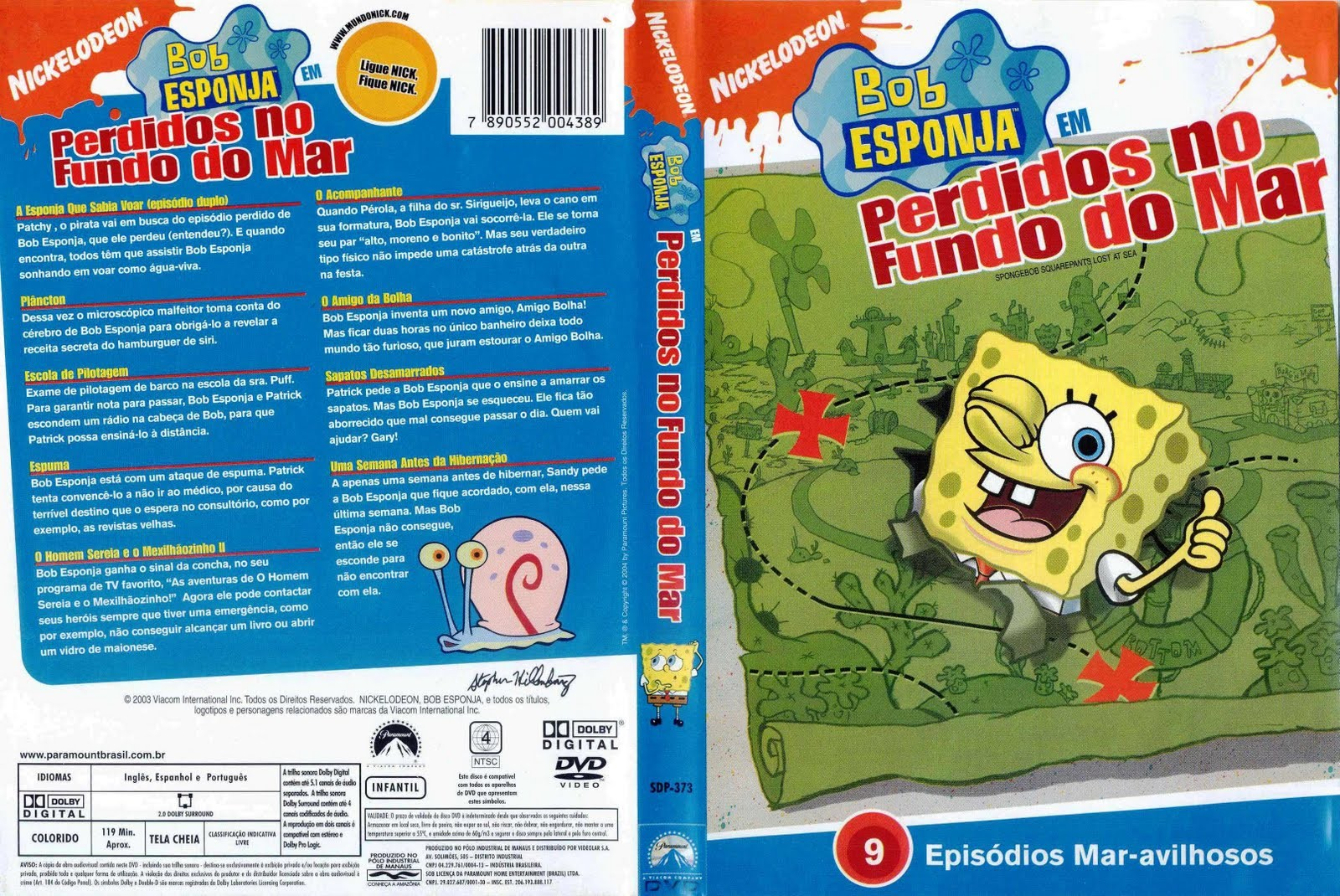 DVD LACRADO BOB ESPONJA PERDIDOS NO FUNDO DO MAR NICKELODEON - AUDIO EM PORTUGUES