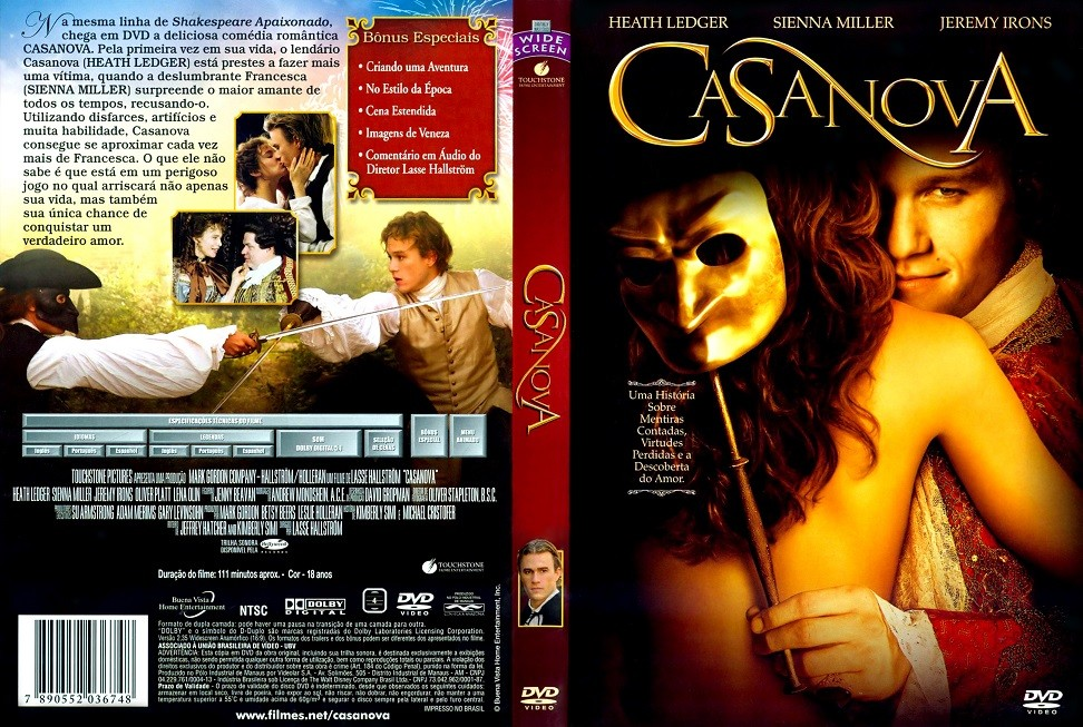 DVD LACRADO CASANOVA COM HEATH LEDGER E SIENNA MILLER - AUDIO EM PORTUGUES