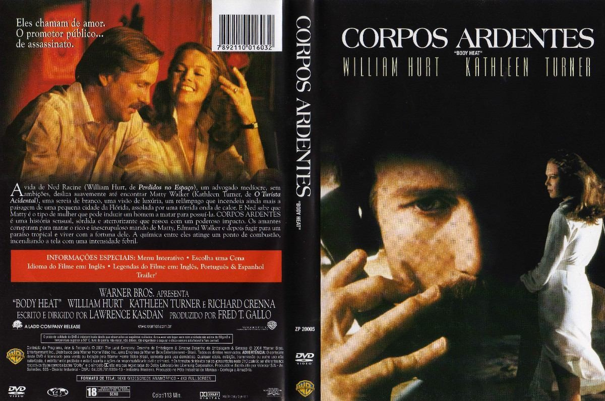 DVD LACRADO CORPOS ARDENTES WILLIAM HURT KATHLEEN TURNER - LEGENDAS EM PORTUGUES