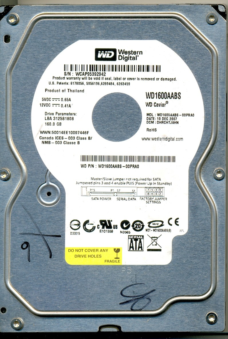 HD DEF09 WESTERN DIGITAL SATA 160GB WD1600AABS COM DEFEITO