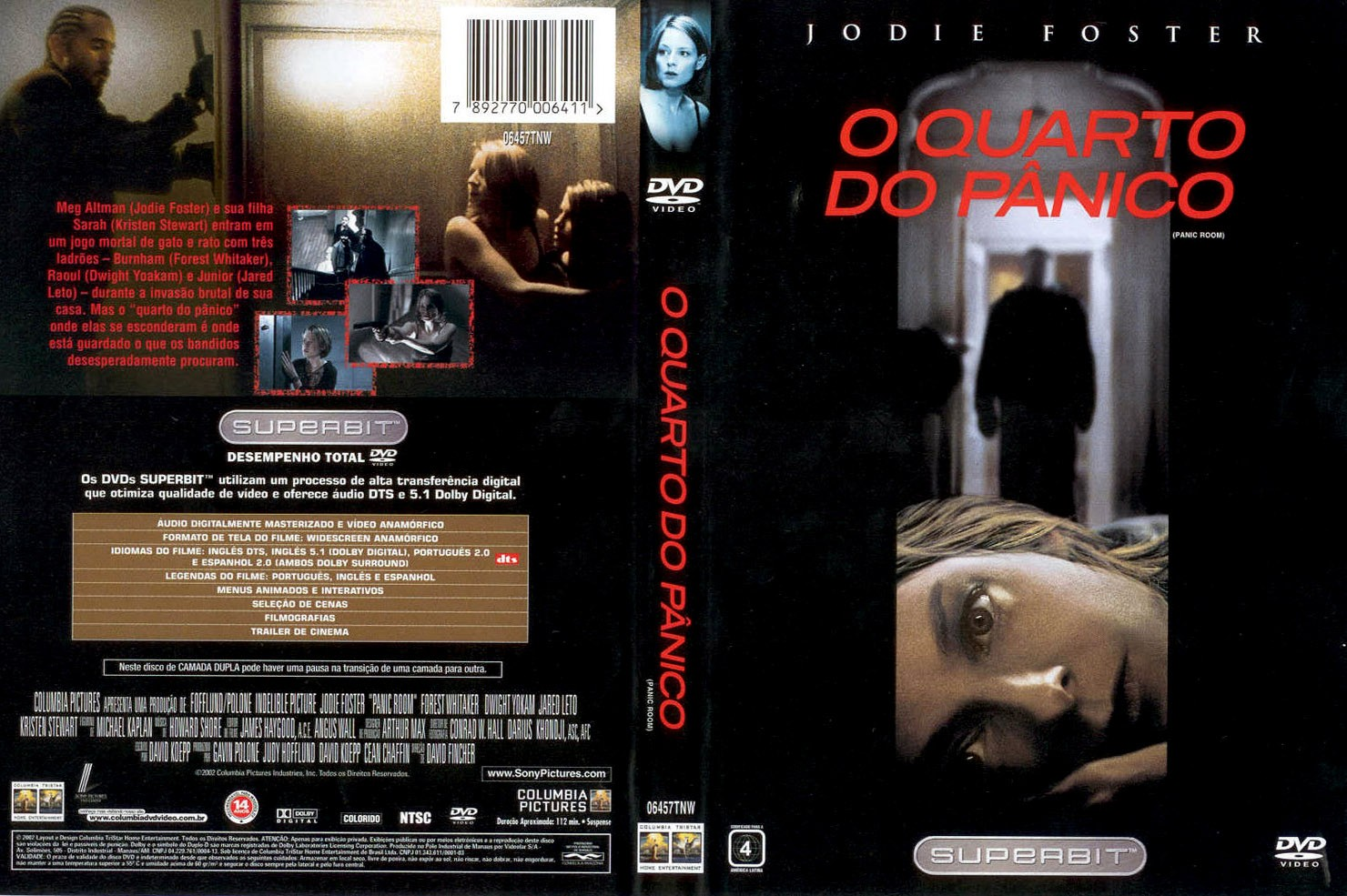 DVD LACRADO O QUARTO DO PANICO SUPERBIT JODIE FOSTER - AUDIO EM PORTUGUES