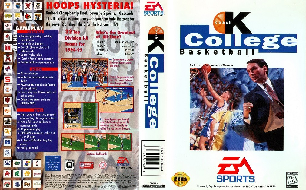 CARTUCHO SEGA GENESIS COLLEGE BASKETBALL SEM MANUAL
