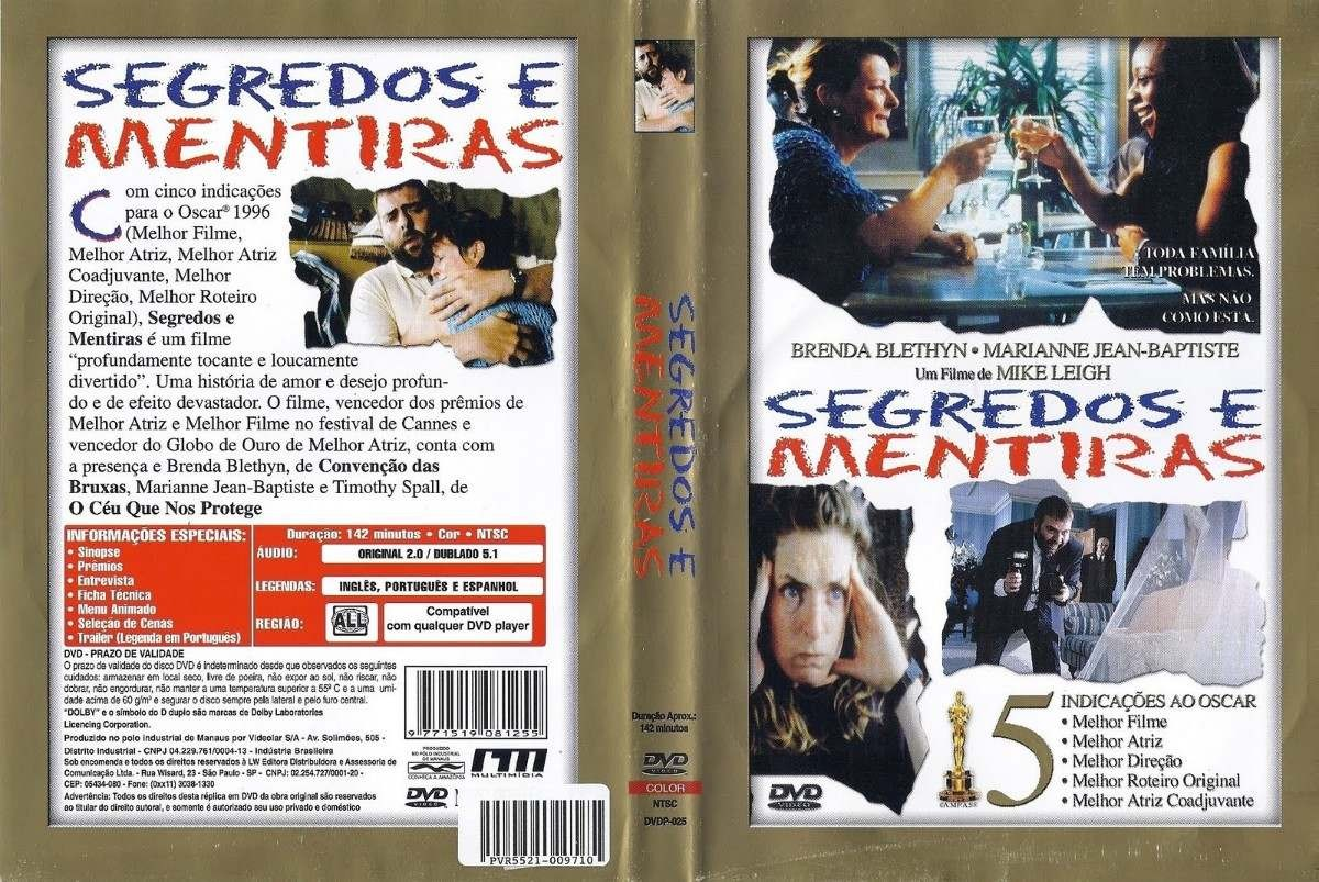 DVD LACRADO SEGREDOS E MENTIRAS FILME DE MIKE LEIGH - AUDIO EM PORTUGUES