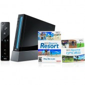 Console Nintendo Wii Preto + Game Wii Sports + Game Wii Sports Resort com Controle MotionPlus